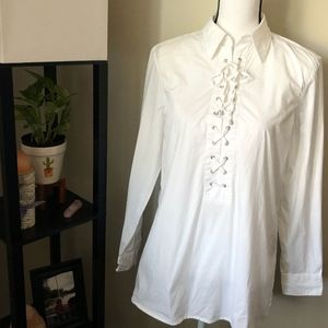 Ralph Lauren White Lace-Up Long Sleeve Shirt